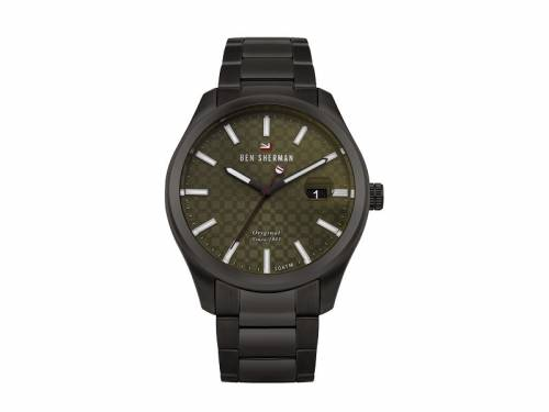 Armbanduhr Edelstahl schwarz Ziffernblatt oliv Edelstahlband schwarz von Ben Sherman (*BE*HU*) - Bild vergrößern