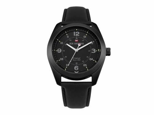 Armbanduhr Edelstahl schwarz Ziffernblatt schwarz Lederband in schwarz von Ben Sherman (*BE*HU*) - Bild vergrößern