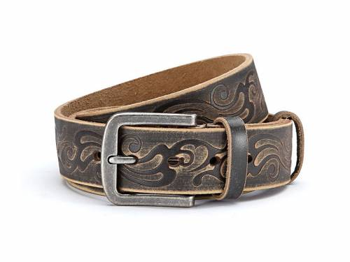 Ledergürtel braun Vintage-Look mit Motiv-Print - Größe 125 (Breite ca. 4 cm) - Bild vergrößern