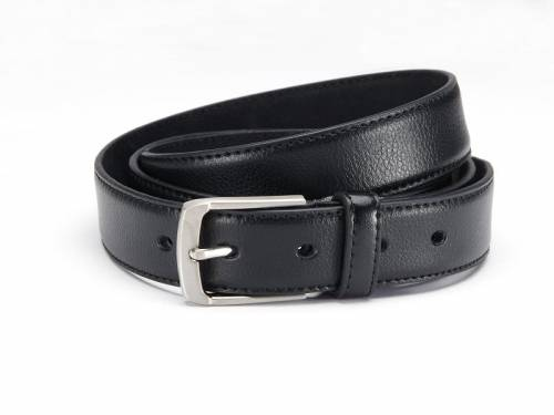Klassischer Anzuggürtel Leder schwarz fein genarbt abgenäht - Größe 125 (Breite ca. 3 cm) - Bild vergrößern