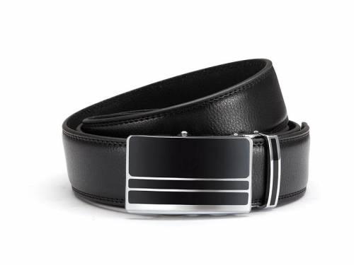 Ledergürtel schwarz fein genarbt abgenäht mit Automatikschließe schwarz/silberfarben - Größe 105 (Breite ca. 3,5 cm) - Bild vergrößern