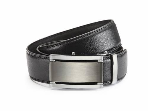 Ledergürtel schwarz fein genarbt abgenäht mit Automatikschließe silberfarben/anthrazit - Größe 115 (Breite ca. 3,5 cm) - Bild vergrößern