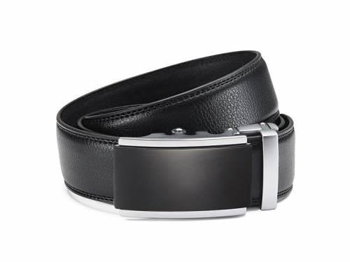 Ledergürtel schwarz fein genarbt abgenäht mit Automatikschließe schwarz/silberfarben - Größe 125 (Breite ca. 3,5 cm) - Bild vergrößern