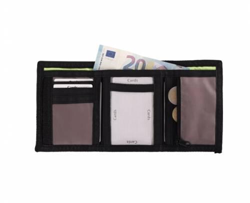Geldbeutel aus modernem Nylon schwarz/grün Klettverschluß mit RFID Schutz - Bild vergrößern
