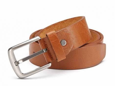 Basic-Gürtel mittelbraun genarbt Vintage-Look - Bundlänge 125cm (Breite ca. 4cm) - Bild vergrößern