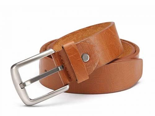 Basic-Gürtel mittelbraun genarbt Vintage-Look - Größe 115 (Breite ca. 4 cm) - Bild vergrößern