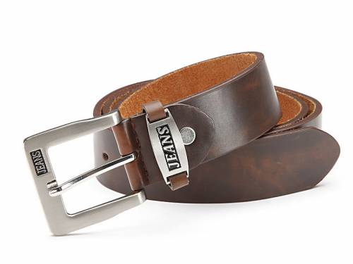 Basic-Gürtel dunkelbraun fein genarbt Vintage-Look - Größe 105 (Breite ca. 4 cm) - Bild vergrößern