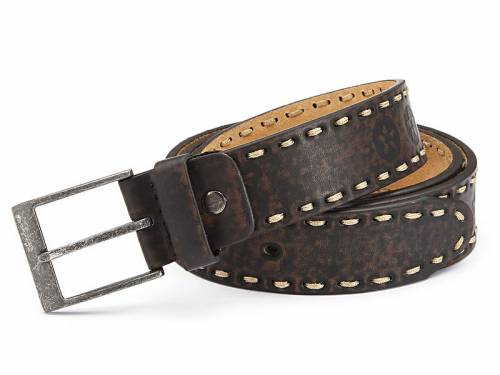 Basic-Gürtel dunkelbraun Motivprägung Kontrastnaht Vintage-Look - Größe 125 (Breite ca. 4 cm) - Bild vergrößern