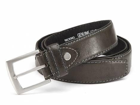 Basic-Gürtel anthrazit genarbt abgenäht Used-Vintage-Look - Bundlänge 125cm (Breite ca. 3,5cm) - Bild vergrößern