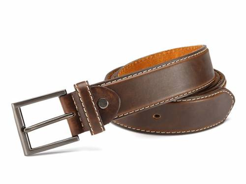 Basic-Gürtel dunkelbraun fein genarbt Kontrastnaht leichter Used-Look - Größe 115 (Breite ca. 4 cm) - Bild vergrößern