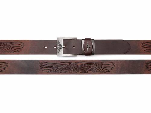 Basic-Gürtel dunkelbraun Motivprägung Used-Vintage-Look - Größe 125 (Breite ca. 4 cm) - Bild vergrößern