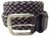 Stretchgürtel geflochten mit Leder braun/grau - Größe 120 (Breite 4 cm)