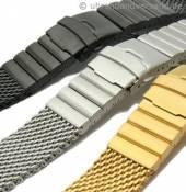 Edelstahl-Uhrenarmbänder Milanaise schweres Geflecht in stahlfarben, schwarz und goldfarben
