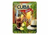 Deko-Blechschild / Retro-Reklameschild Cocktail-Time - Cuba Libre grün/blau 20 x 15cm von Nostalgic-Art
