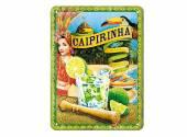 Deko-Blechschild / Retro-Reklameschild Cocktail-Time - Caipirinha grün/blau 20 x 15cm von Nostalgic-Art