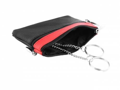 Schlüsseletui echt Leder schwarz/rot mit Reißverschluss & Geldfach - Bild vergrößern