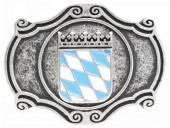 Gürtelschließe Metall altsilberfarben Wappen Bayern passend für Gürtelbreite 40 mm