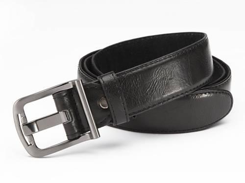 Basic-Gürtel schwarz genarbt abgenäht Breitdornschließe Used-Vintage-Look - Größe 115 (Breite ca. 4 cm) - Bild vergrößern