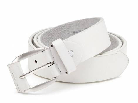 Basic-Gürtel weiß genarbt - Bundlänge 115cm (Breite ca. 4cm) - Bild vergrößern