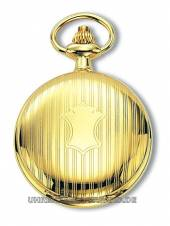 Klassische Savonette-Taschenuhr goldfarben (Hitec-IPG) Deckel fein verziert Claude Pascal (*CL*TU*)