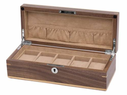 Uhrenbox Wallnuss dunkelbraun/hellbraun matt für bis zu 5 Armbanduhren - Bild vergrößern