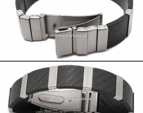 Schmuck-Armband Edelstahl/Karbon Gliederband stahlfarben/schwarz von Vollmer - Bandlänge ca. 19cm - Bild vergrößern
