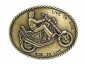 Gürtelschließe Metall altmessingfarben Motorrad passend für Gürtelbreite 40 mm