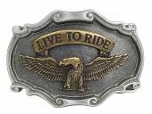 Gürtelschließe Metall bicolor Live to Ride passend für Gürtelbreite 40 mm