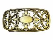 Gürtelschließe Metall altmessingfarben Ornament passend für Gürtelbreite 40 mm