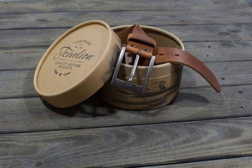 Design-Ledergürtel mittelbraun Vintage-Look von Tzevelion MADE IN GREECE - Größe 120 (Breite ca. 3,5 cm) - Bild vergrößern
