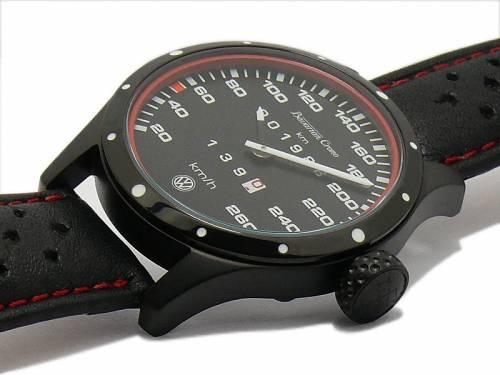 Armbanduhr / Tacho-Uhr VW Golf II GTI 16V 1986 Edelstahl schwarz Lederband v. Bavarian Crono - MADE IN GERMANY (*BC*AU*) - Bild vergrößern