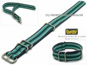 Uhrenarmband Corduras-VB 18mm dunkelblau Textil weiße und grüne Streifen 3 Metallschlaufen Durchzugsband von BROS