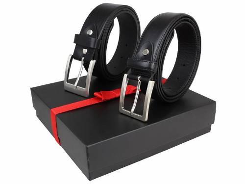 2er-Set Gürtel aus Vollrindleder schwarz glatt - Größe 120 kürzbar (Breite 4 cm & 3,5 cm ) - Bild vergrößern