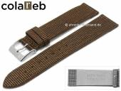 Uhrenarmband Vegan Wood 18mm dunkelbraun Holz/Synthetik Karomuster von COLAREB (Schließenanstoß 16 mm)