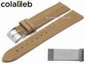 Uhrenarmband Vegan Wood 18mm hellbraun Holz/Synthetik Karomuster von COLAREB (Schließenanstoß 16 mm)
