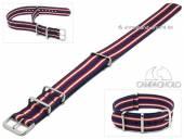 Uhrenarmband 24mm dunkelblau Synthetik/Textil NATO-Style rote weiße Streifen Durchzugsband von CAMPAGNOLO