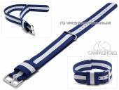 Uhrenarmband 20mm dunkelblau Synthetik/Textil NATO-Style Durchzugsband mit weißem Streifen von CAMPAGNOLO