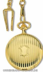 Savonette-Taschenuhr goldfarben poliert Ziffernblatt weiß von Claude Pascal (*CL*TU*)