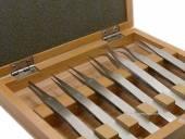 7er-Set Uhrmacher-Pinzetten Edelstahl in Holzbox