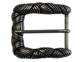 Gürtel-Dornschließe Metall altsilberfarben String-Look passend für Gürtelbreite 40 mm