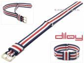 Uhrenarmband 22mm dunkelblau Nylon weiße und roter Streifen Durchzugsband von DILOY