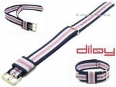 Uhrenarmband 18mm dunkelblau Nylon weiße und pinker Streifen Durchzugsband von DILOY