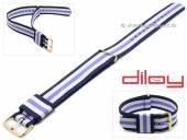 Uhrenarmband 18mm dunkelblau Nylon weiße und lilafarbener Streifen Durchzugsband von DILOY