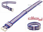 Uhrenarmband 18mm mittelblau Nylon rote und weiße Streifen Durchzugsband von DILOY