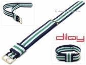 Uhrenarmband 18mm dunkelblau Nylon weiße und grüner Streifen Durchzugsband von DILOY