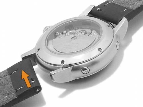 Uhrenarmband 20mm rotbraun Leder glatt schwarze Naht mit Schnellwechsel-Stegen von DILOY (Schließenanstoß 20 mm) - Bild vergrößern