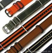 NATO Durchzugsbänder aus Leder, Textil oder Synthetik in diversen Ausführungen