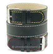 Uhrenarmband Prag farbige Kontrastnähte Leder klassisches Design Durchzugsband von MEYHOFER