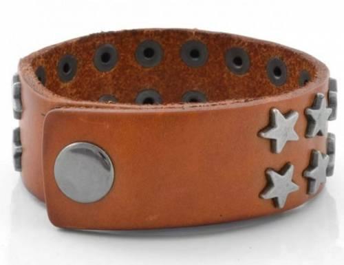 Schmuck-Armband Leder hellbraun mit Sternen silberfarben Verschluß Edelstahl silberfarben - Bandlänge ca. 19-22cm - Bild vergrößern