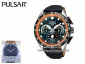 Sportliche Herrenuhr Chronograph Edelstahl silberfarben/schwarz Ziffernblatt schwarz von Pulsar (*PR*HU*)